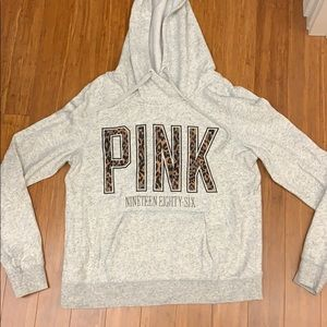 Victoria's Secret PINK Gray and Leopard Hoodie